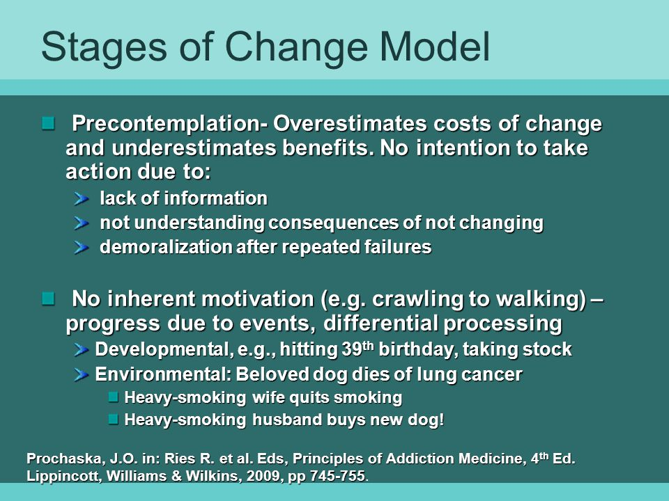 Stages of Change Model Precontemplation- Overestimates costs of change and underestimates benefits. No intention to take action due to: