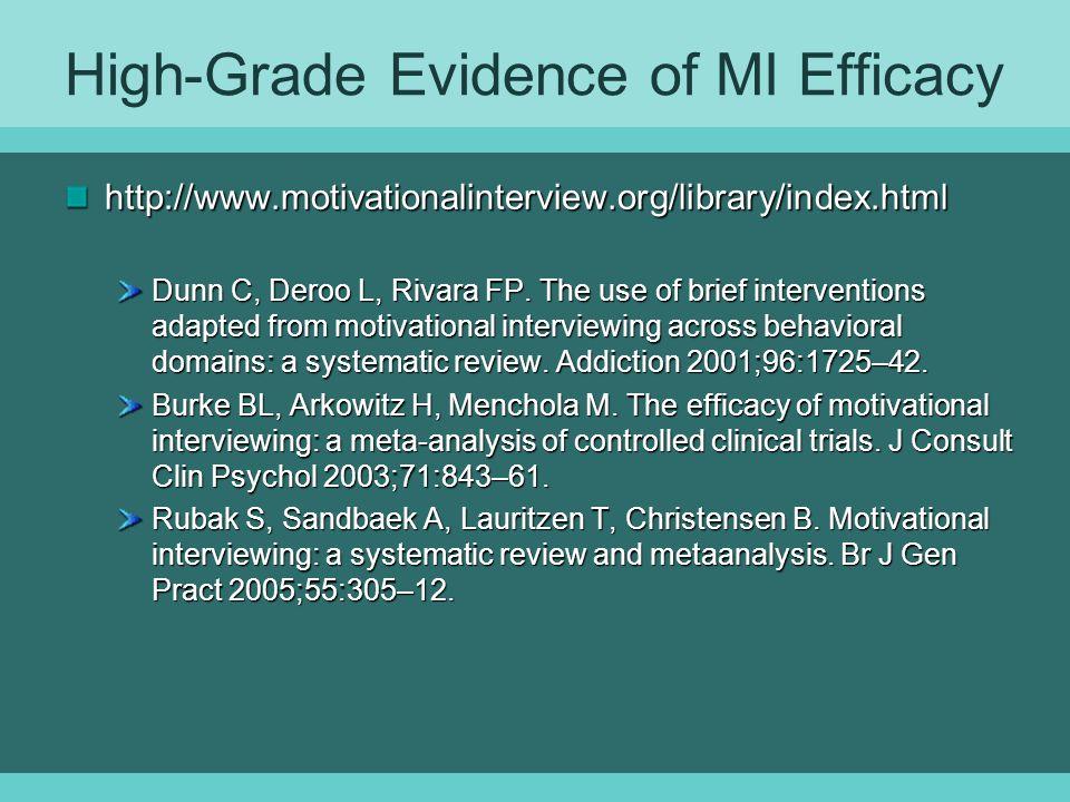 High-Grade Evidence of MI Efficacy