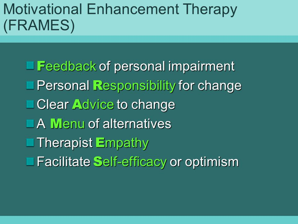 Motivational Enhancement Therapy (FRAMES)