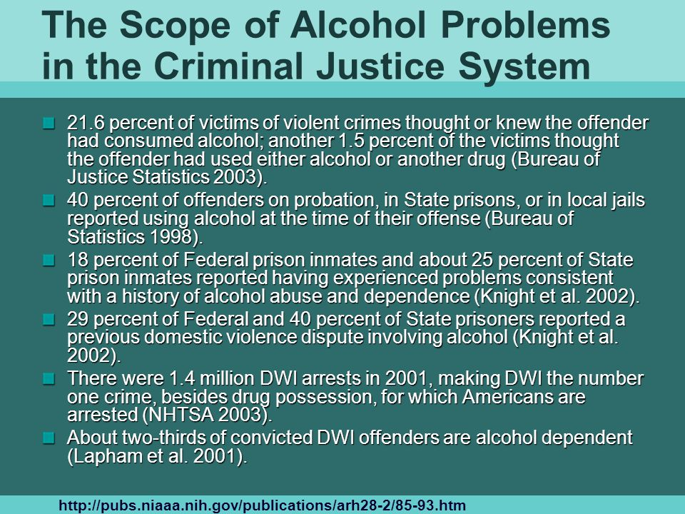 The Scope of Alcohol Problems in the Criminal Justice System