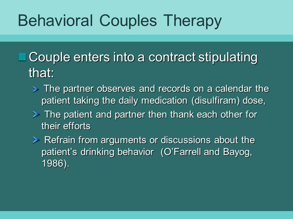 Behavioral Couples Therapy