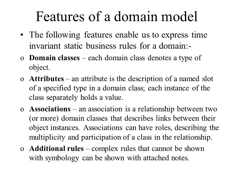 Features of a domain model