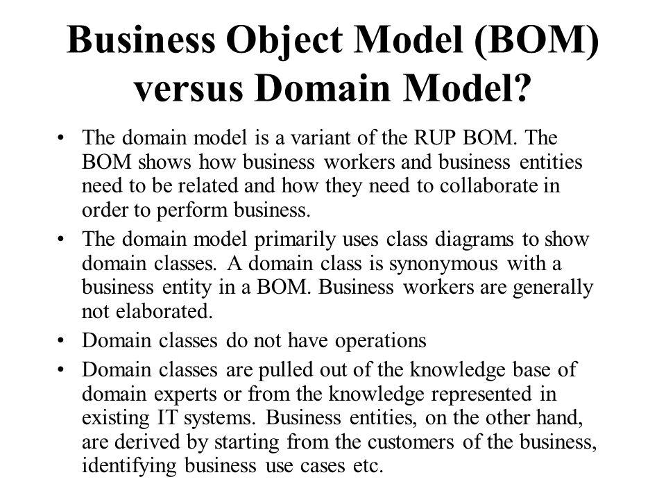 Business Object Model (BOM) versus Domain Model