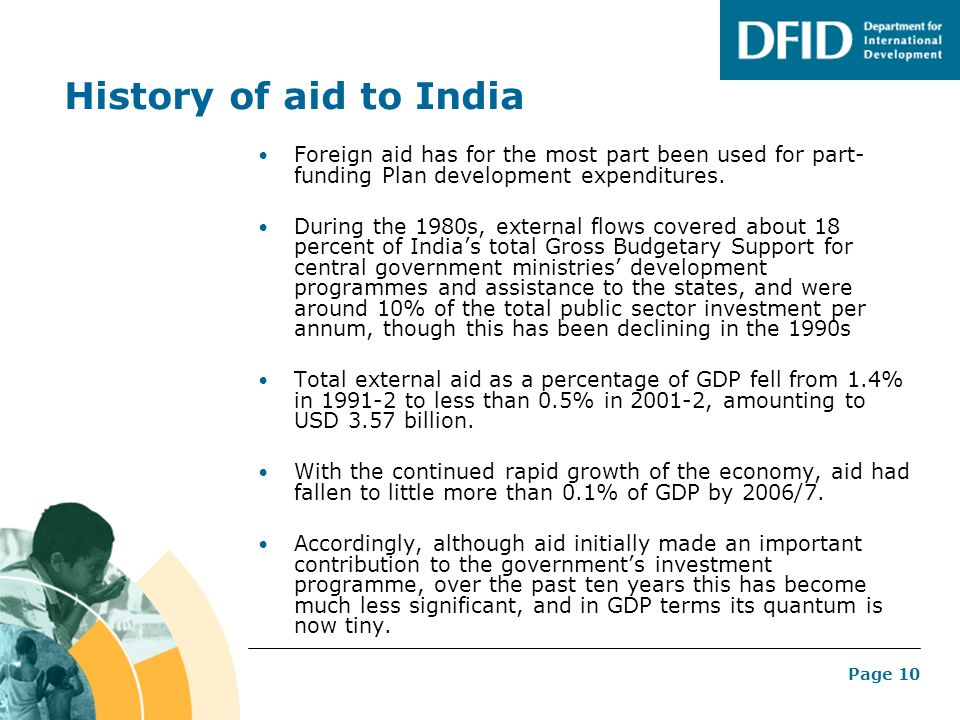 History of aid to India Foreign aid has for the most part been used for part-funding Plan development expenditures.