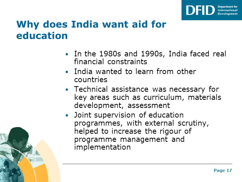 Why does India want aid for education