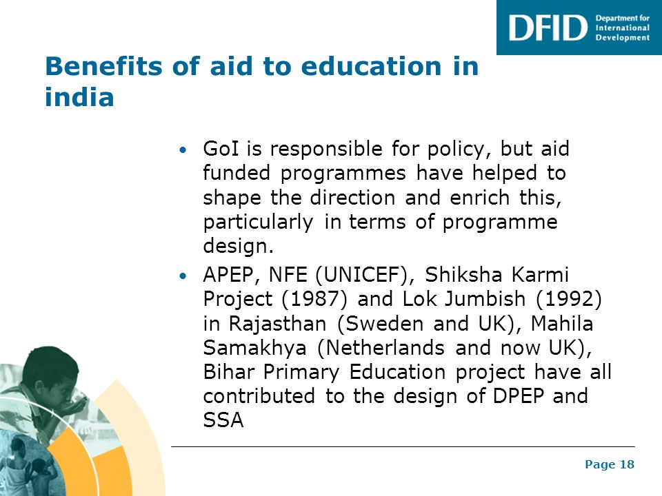 Benefits of aid to education in india