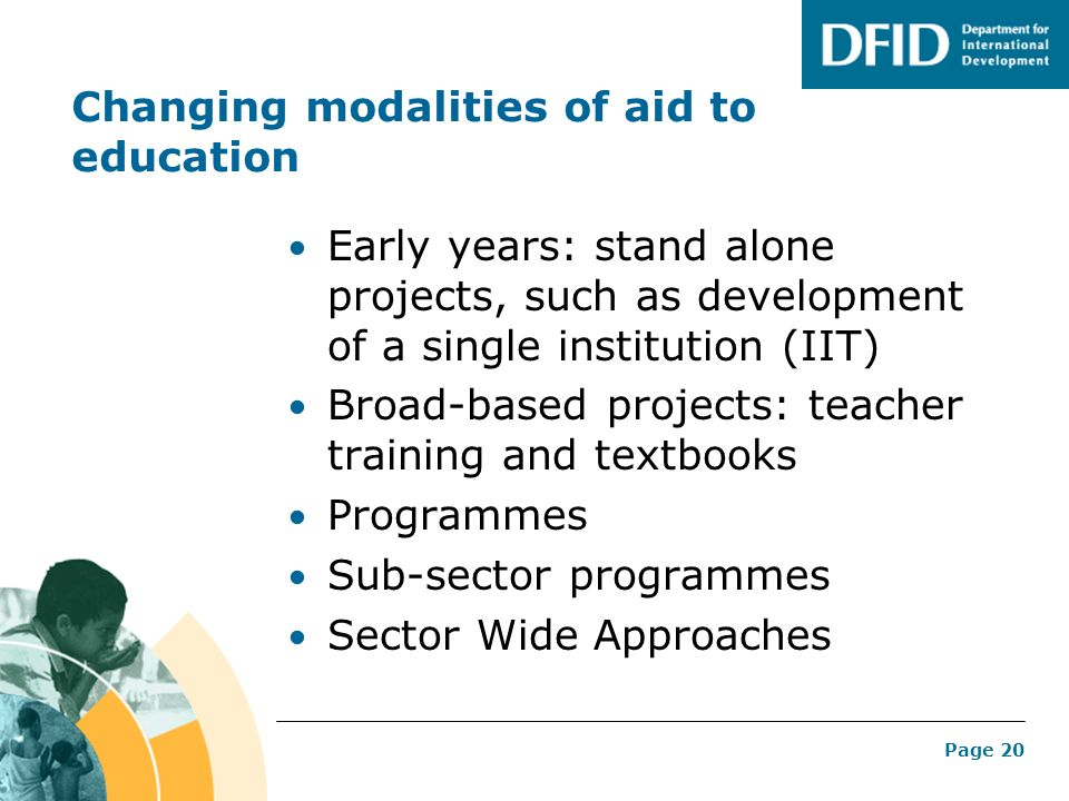 Changing modalities of aid to education