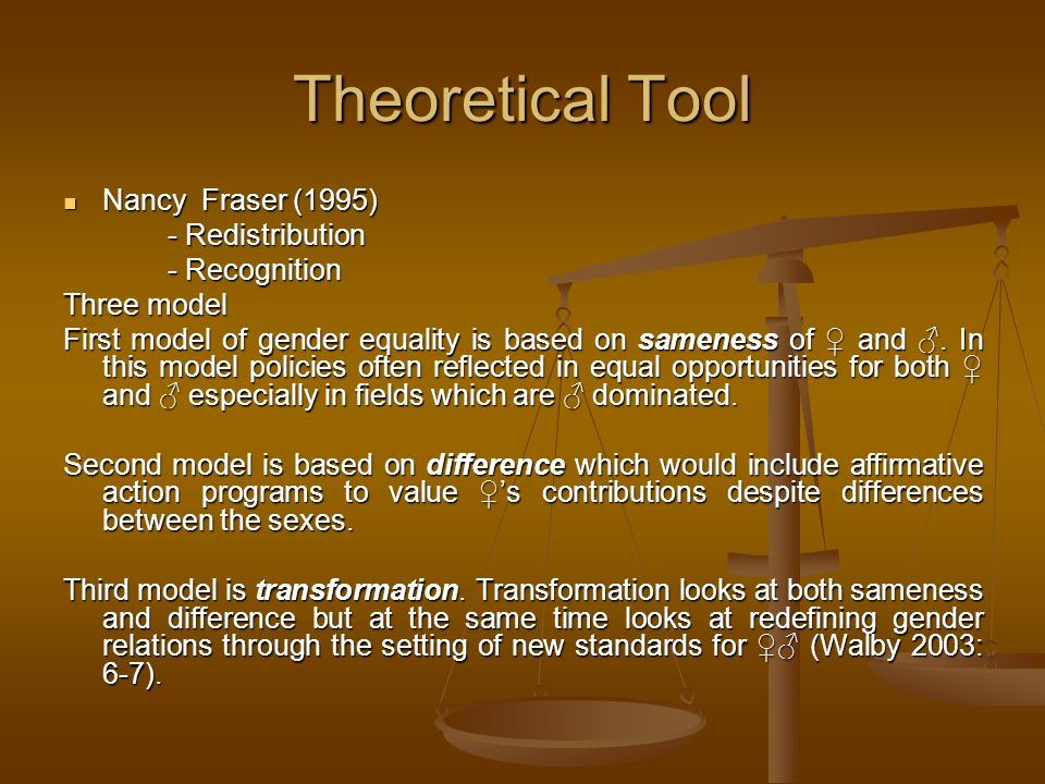 Theoretical Tool Nancy Fraser (1995) - Redistribution - Recognition