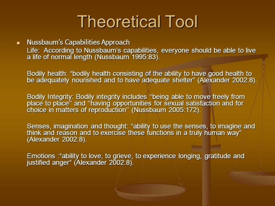 Theoretical Tool Nussbaum's Capabilities Approach