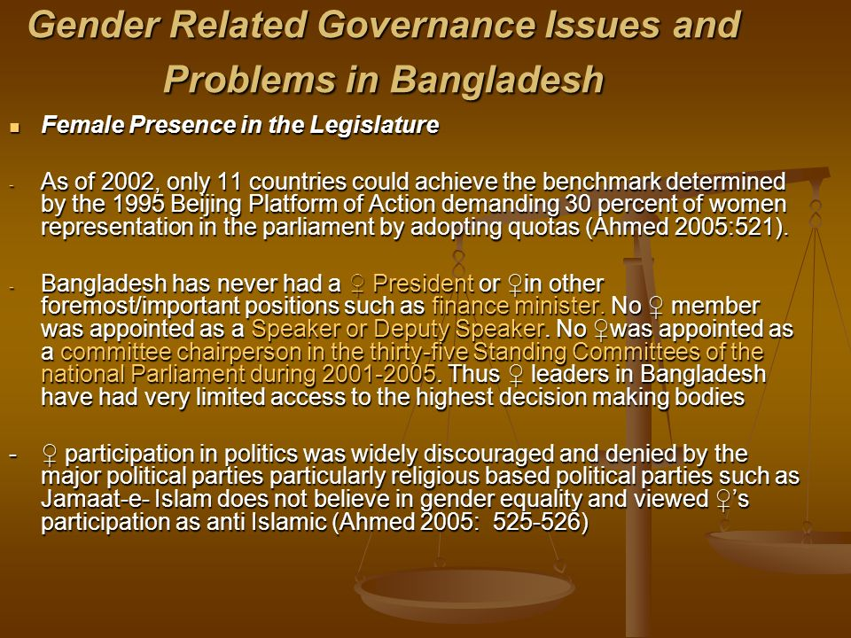 Gender Related Governance Issues and Problems in Bangladesh