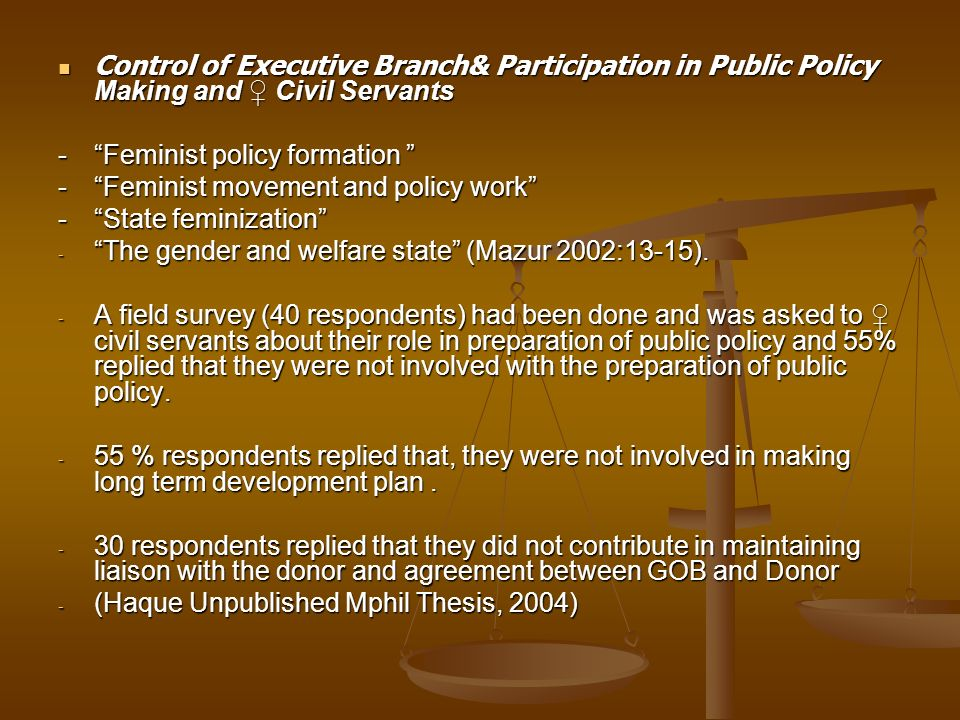 Control of Executive Branch& Participation in Public Policy Making and ♀ Civil Servants