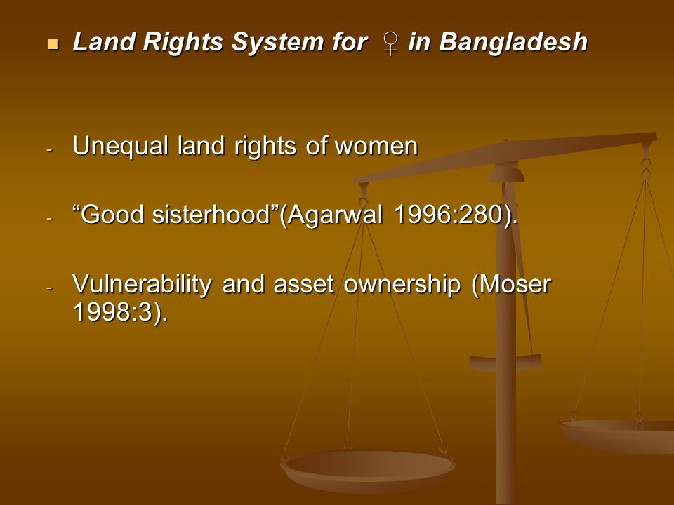 Land Rights System for ♀ in Bangladesh