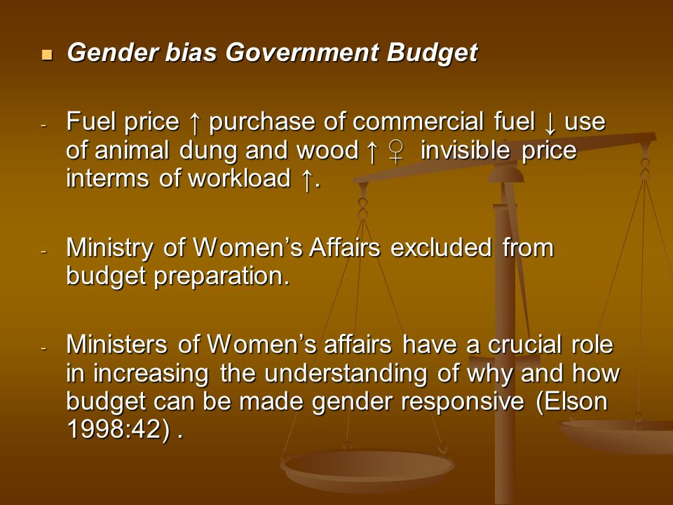 Gender bias Government Budget