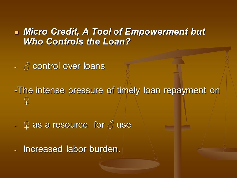 Micro Credit, A Tool of Empowerment but Who Controls the Loan
