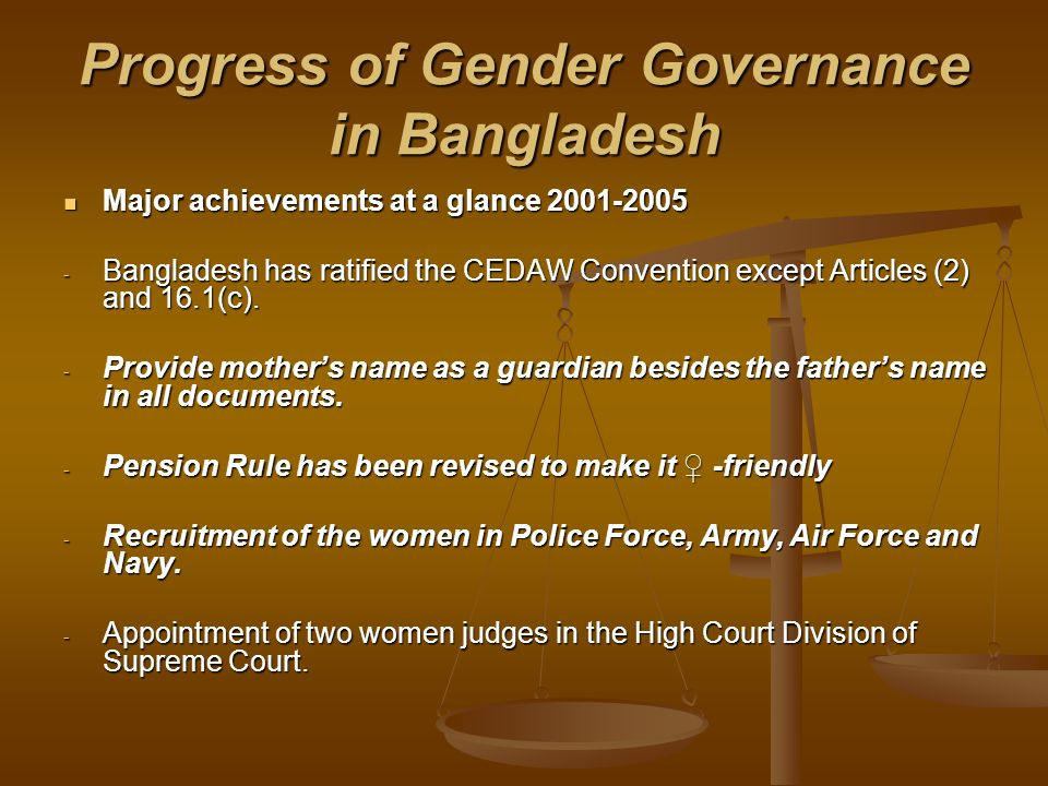 Progress of Gender Governance in Bangladesh