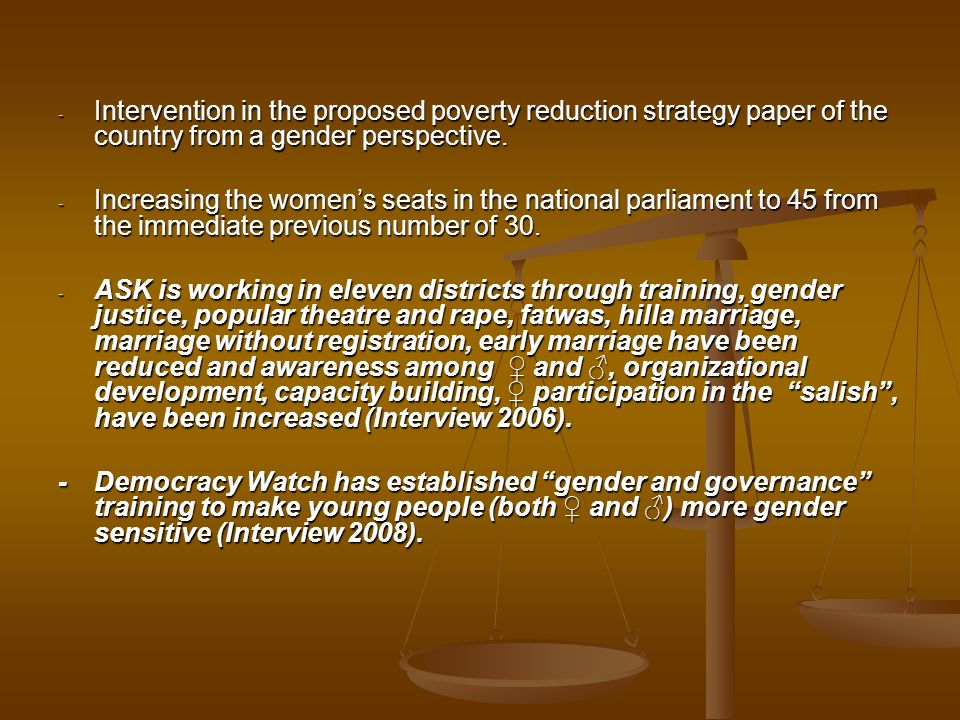 Intervention in the proposed poverty reduction strategy paper of the country from a gender perspective.