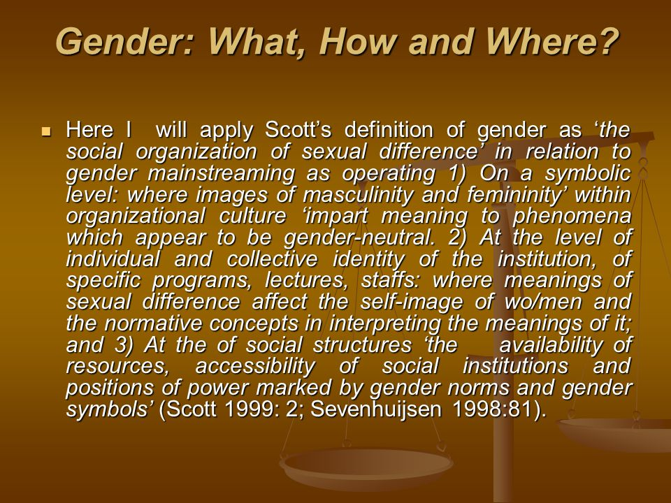 Gender: What, How and Where