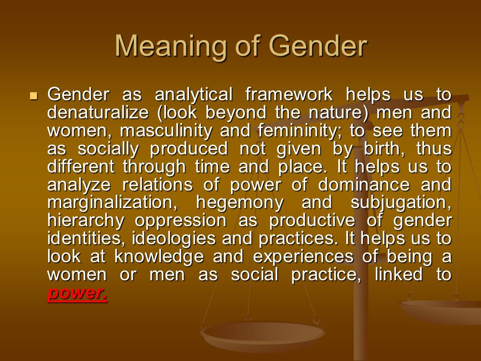 Meaning of Gender