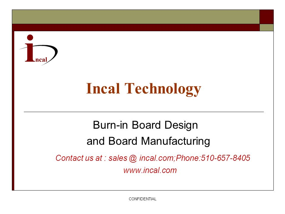 Incal Technology Burn-in Board Design and Board Manufacturing