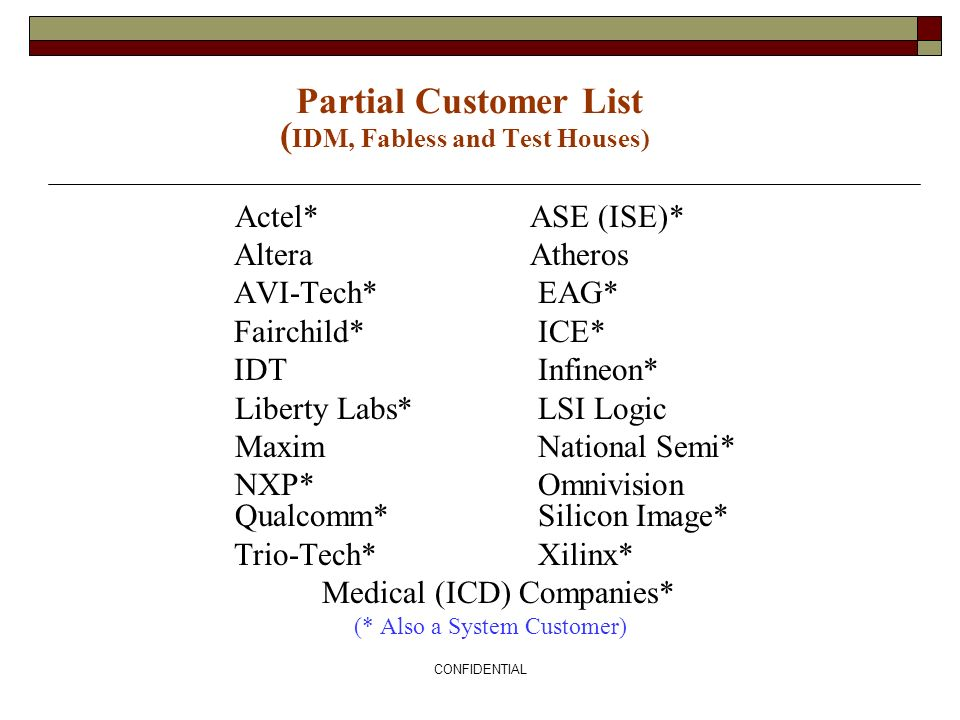 Partial Customer List (IDM, Fabless and Test Houses)