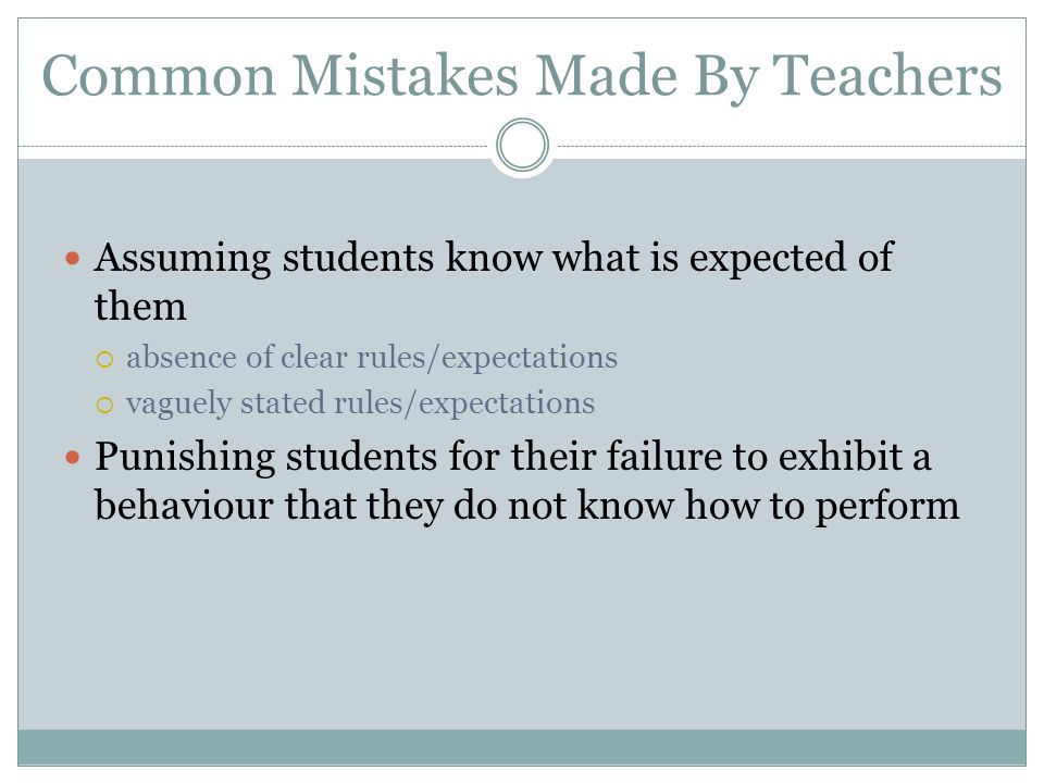 Common Mistakes Made By Teachers