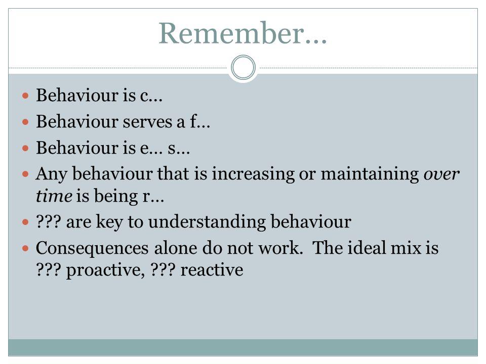 Remember… Behaviour is c... Behaviour serves a f… Behaviour is e… s…