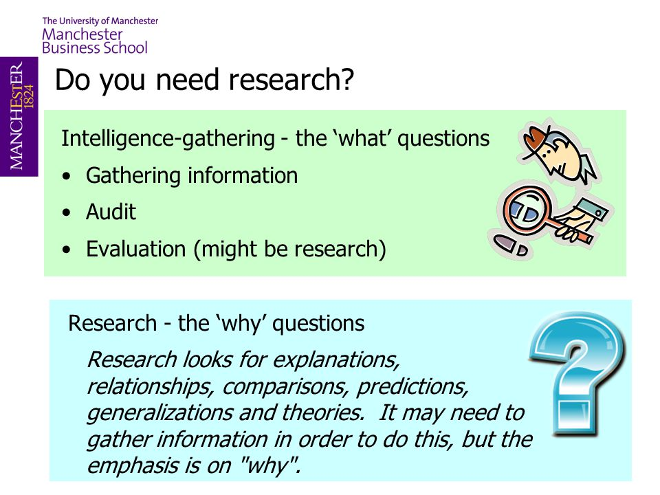 Do you need research Intelligence-gathering - the 'what' questions