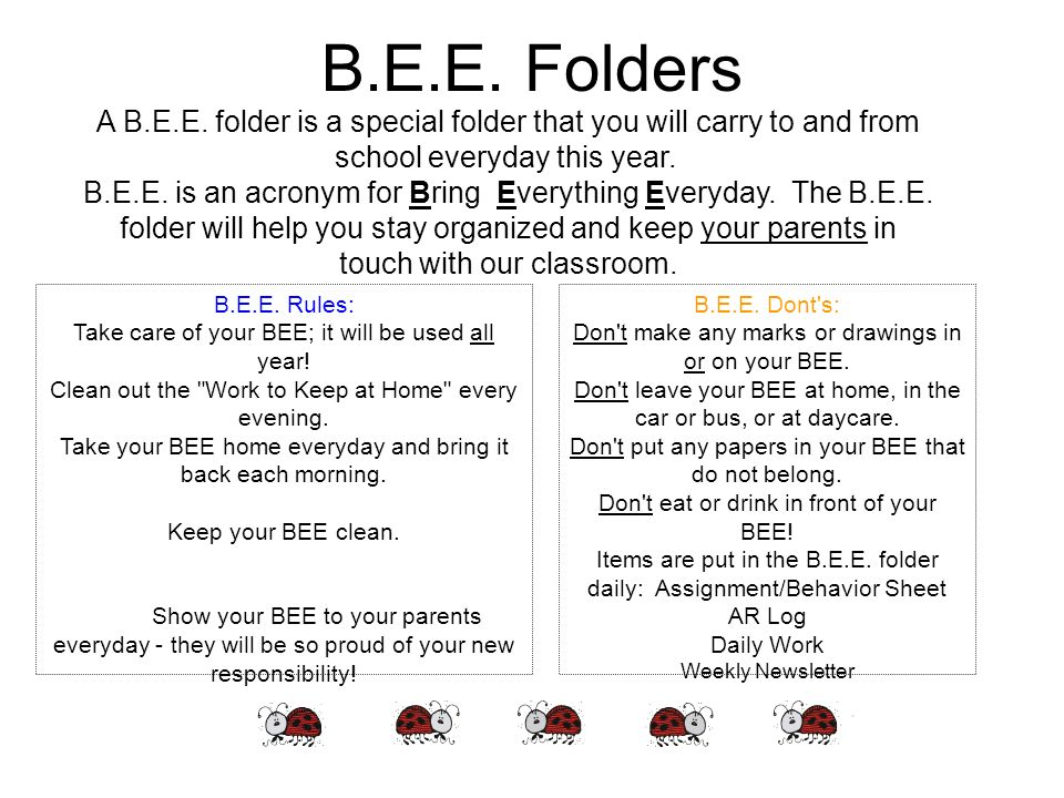 B.E.E. FoldersA B.E.E. folder is a special folder that you will carry to and from school everyday this year.