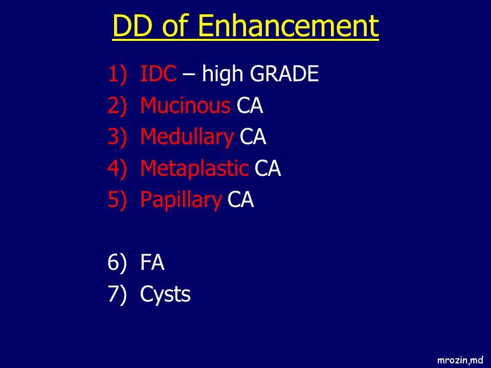 DD of Enhancement IDC – high GRADE Mucinous CA Medullary CA