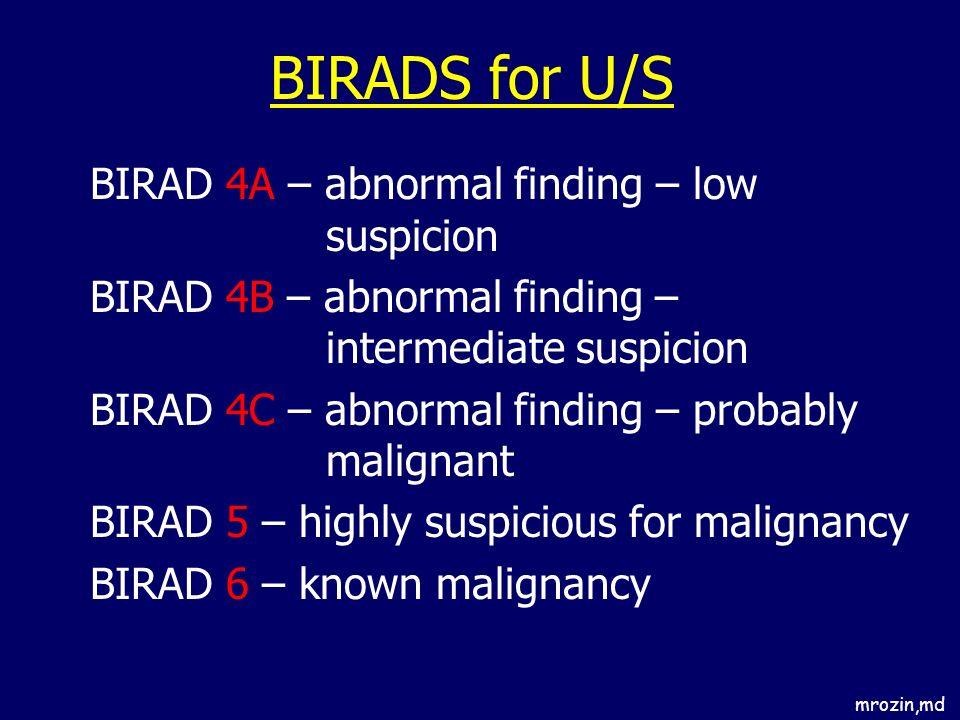 BIRADS for U/S BIRAD 4A – abnormal finding – low suspicion