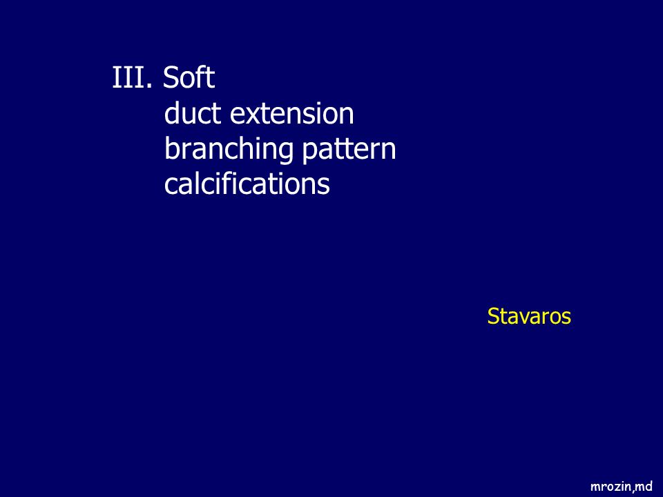 III. Soft duct extension branching pattern calcifications