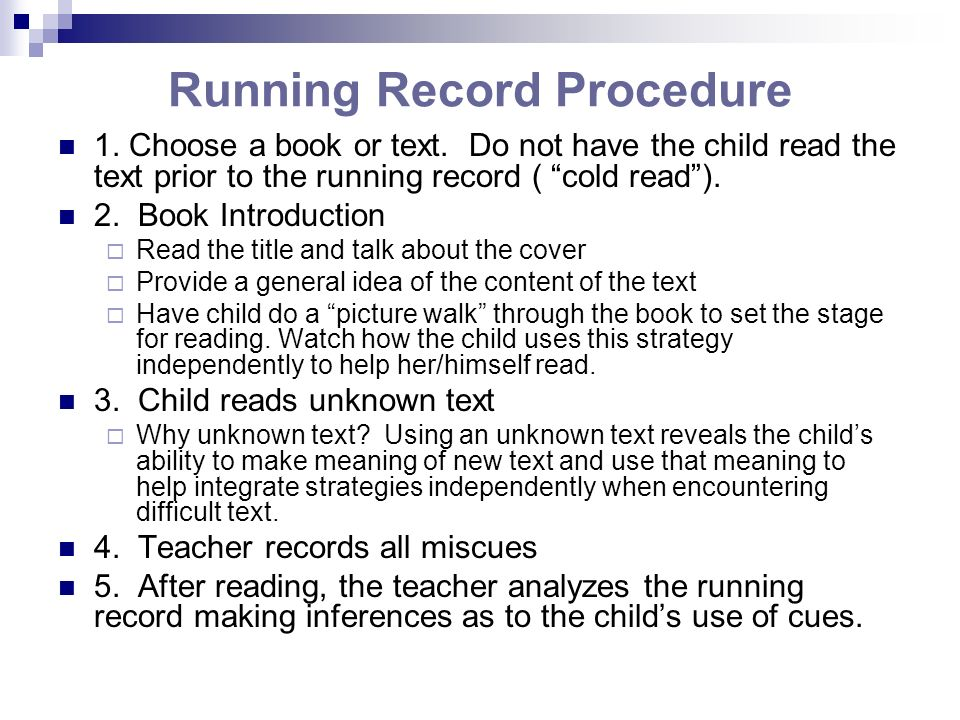 Running Record Procedure