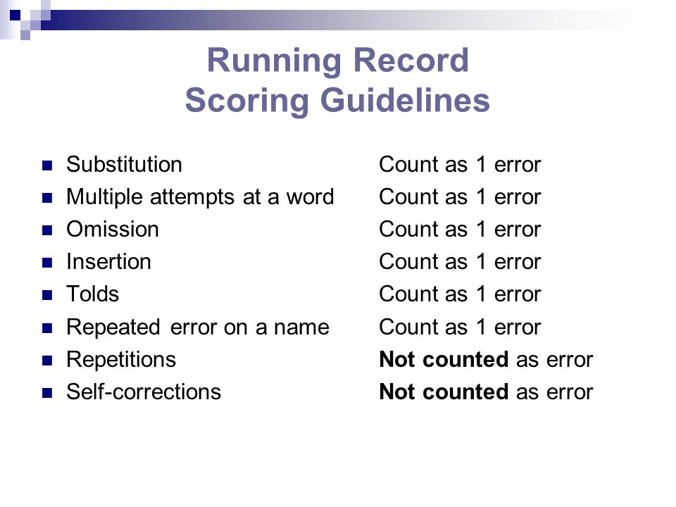 Running Record Scoring Guidelines