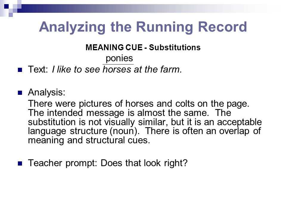 Analyzing the Running Record