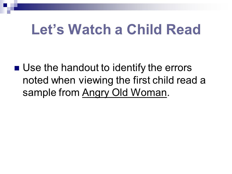 Let's Watch a Child Read