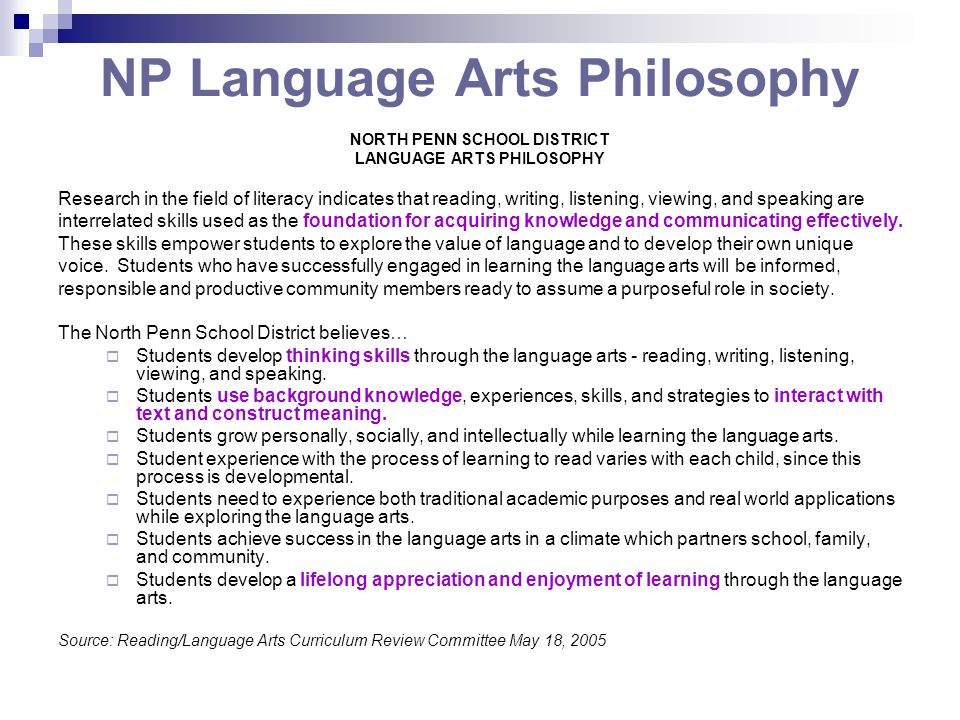 NP Language Arts Philosophy
