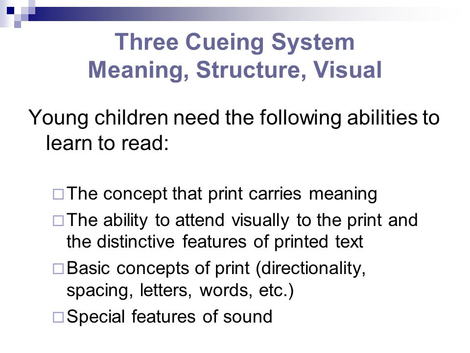 Three Cueing System Meaning, Structure, Visual