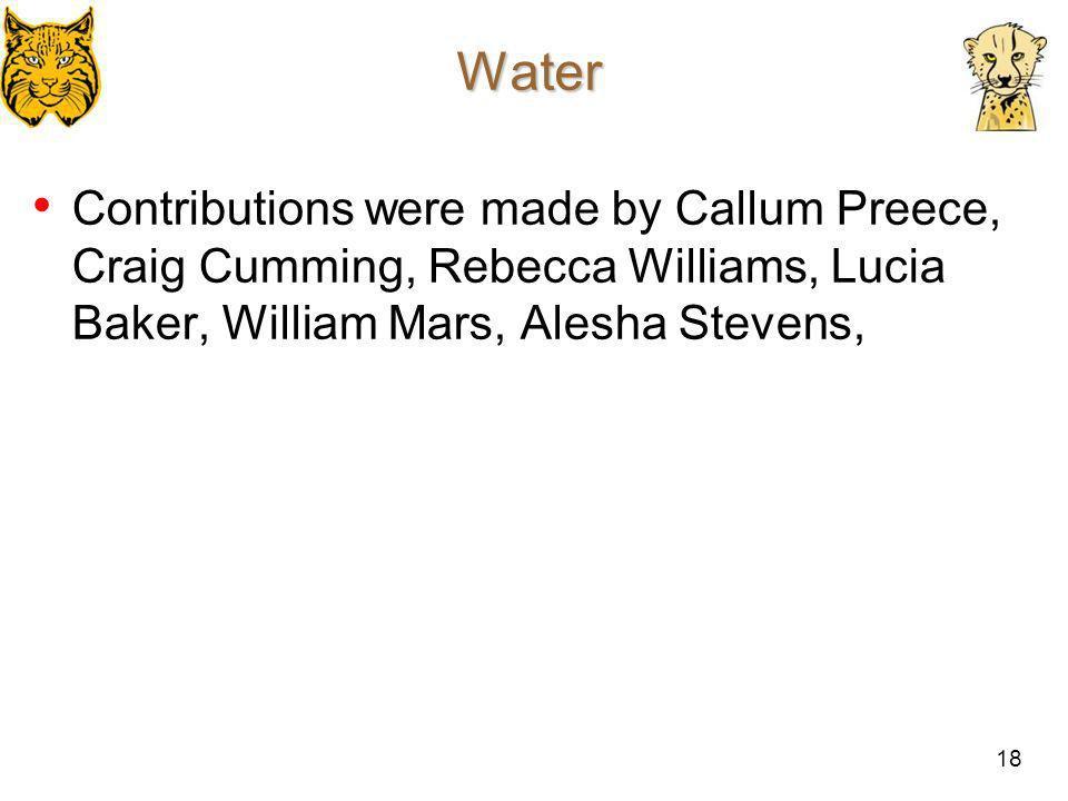 Water Contributions were made by Callum Preece, Craig Cumming, Rebecca Williams, Lucia Baker, William Mars, Alesha Stevens,