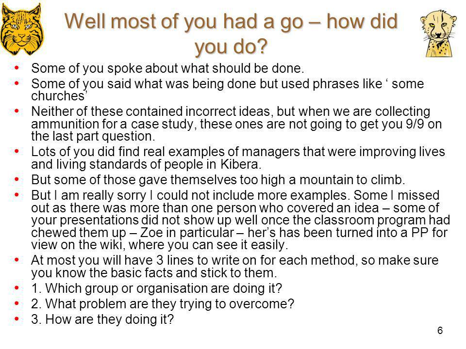 Well most of you had a go – how did you do