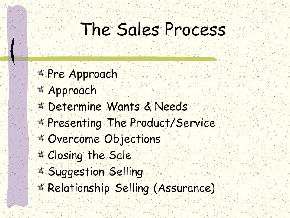 The Sales Process Pre Approach Approach Determine Wants & Needs