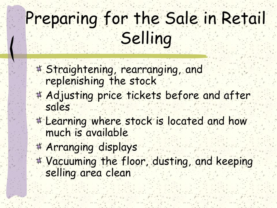 Preparing for the Sale in Retail Selling