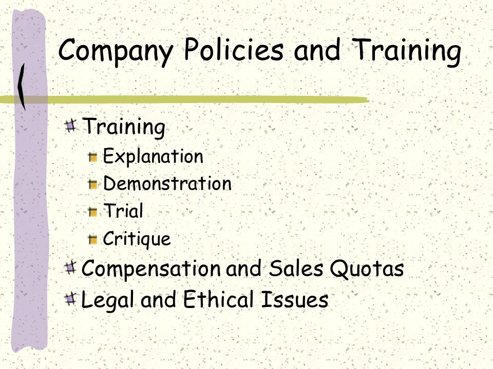 Company Policies and Training