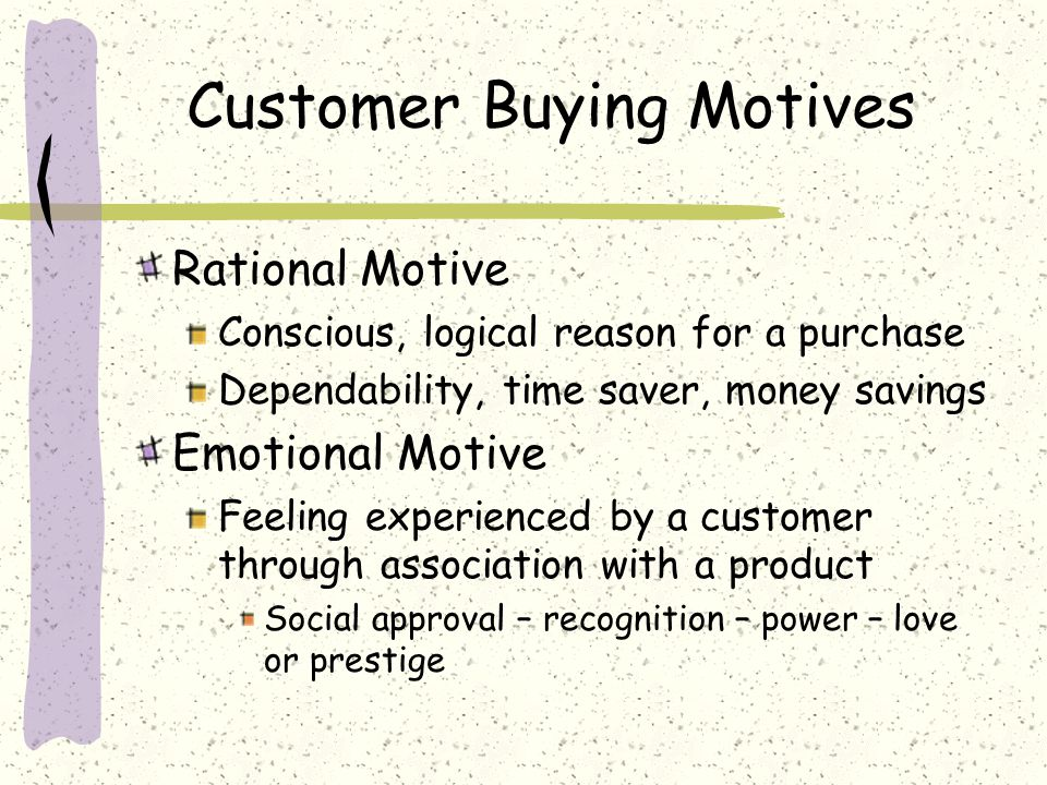 Customer Buying Motives