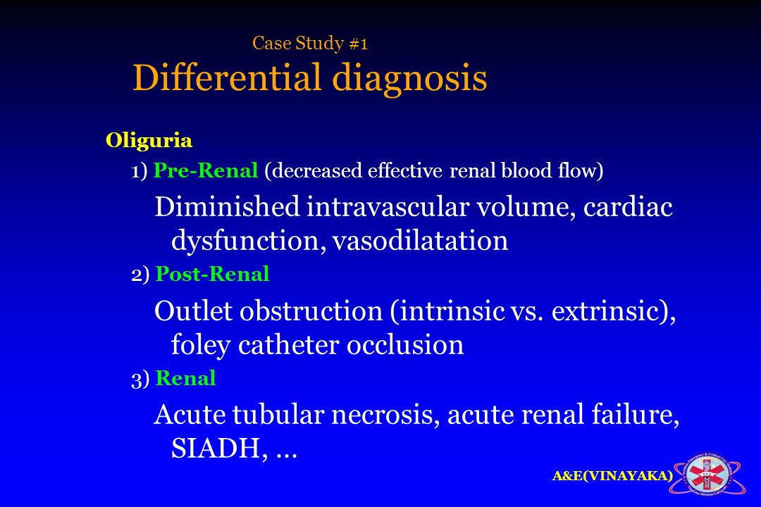 Case Study #1 Differential diagnosis