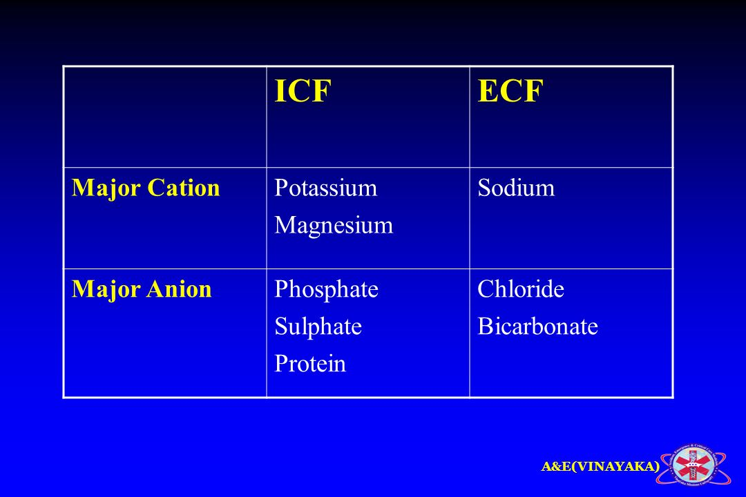 ICF ECF Major Cation Potassium Magnesium Sodium Major Anion Phosphate