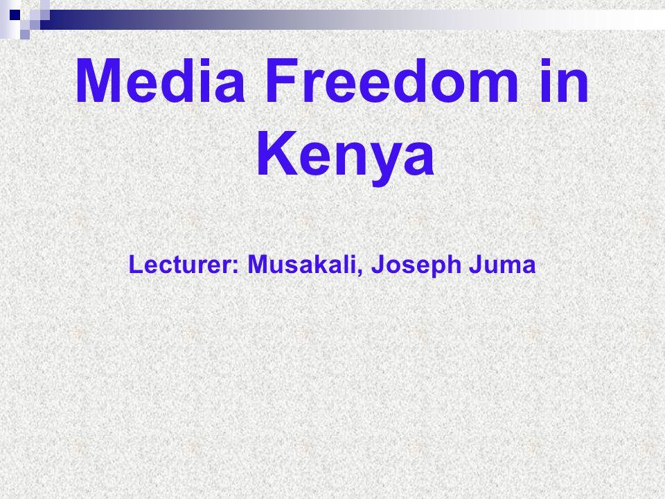 Lecturer: Musakali, Joseph Juma