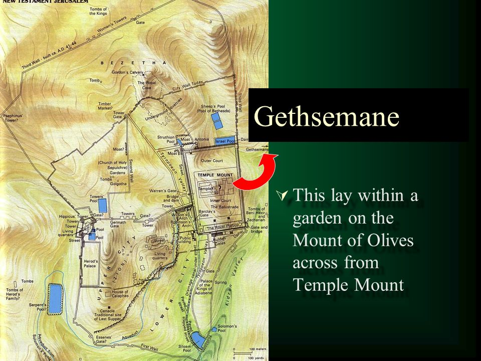 Gethsemane This lay within a garden on the Mount of Olives across from Temple Mount