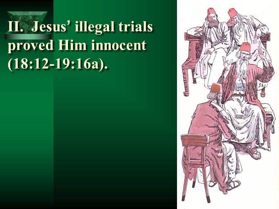 II. Jesus' illegal trials proved Him innocent (18:12-19:16a).