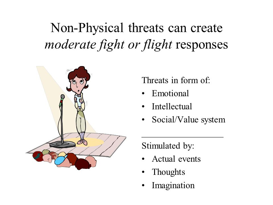 Non-Physical threats can create moderate fight or flight responses