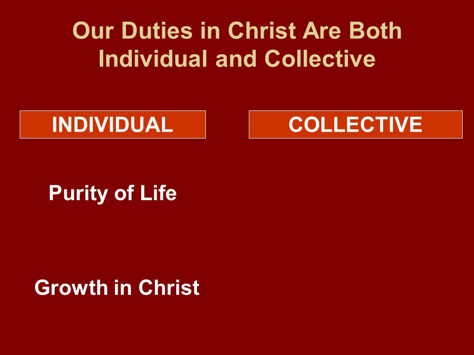 Our Duties in Christ Are Both Individual and Collective